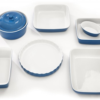 Blue Ceramic Dishes Overhead